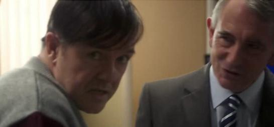 Derek (Ricky Gervais) and the councillor (Simon Wright)