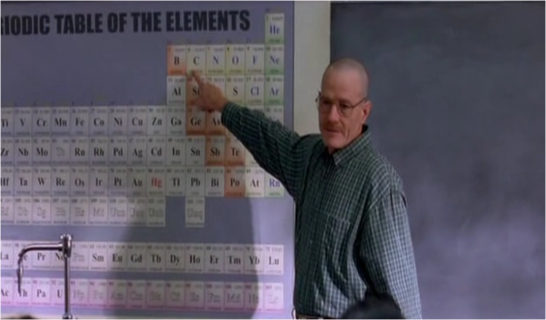 2x06 Peekaboo - Walter White (Bryan Cranston) teaches his students that carbon is the center of everything.