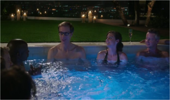 1x04 The Dinner - Stuart Pritchard (Stephen Merchent) and his roommate Jessica Vanderhoff (Christine Woods) are in the jacuzzi