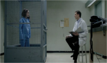 1x11 Tall Men With Feelings - The inmate Tiffany Doggett (Taryn Manning) is locked in a cage, in the psychiatric department, after trying to make a paraplegic teenager walk again.