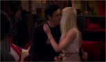 3x12 The French Kiss - Caroline Channing (Beth Behrs) kissing the French chef Nicolas (Gilles Marini)