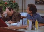 SEINFELD: 7x05 The Hot Tub - George (in the middle) shows Jerry and Elaine how looking annoyed at work makes you look busy.