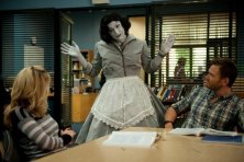 """COMMUNITY -- """"Herstory of Dance"""" Episode 407 -- Pictured: (l-r) Gillian Jacobs as Britta, Jim Rash as Dean Pelton, Joel McHale as Jeff Winger -- (Photo by: Colleen Hayes/NBC)"""