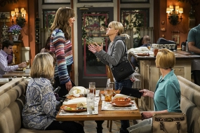 """""""High-Tops and Brown Jacket"""" -- Bonnie and Adam's relationship is tested when he moves in with her and Christy for a few weeks. Also, Christy learns the hard way that it may be a mistake to try and meet men with Jill, on the fourth season premiere of MOM, Thursday, Oct. 27 (9:01-9:30 PM, ET/PT) on the CBS Television Network. Pictured Left to right: Allison Janney as Bonnie, and Anna Faris as Christy. Photo: Monty Brinton/CBS ©2016 CBS Broadcasting, Inc. All Rights Reserved"""