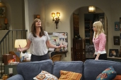 """""""High-Tops and Brown Jacket"""" -- Bonnie and Adam's relationship is tested when he moves in with her and Christy for a few weeks. Also, Christy learns the hard way that it may be a mistake to try and meet men with Jill, on the fourth season premiere of MOM, Thursday, Oct. 27 (9:01-9:30 PM, ET/PT) on the CBS Television Network. Pictured Left to right: Allison Janney as Bonnie and Anna Faris as Christy. Photo: Monty Brinton/CBS ©2016 CBS Broadcasting, Inc. All Rights Reserved"""