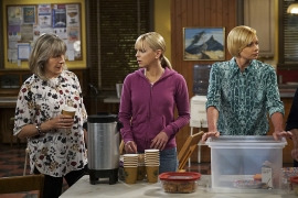 """High-Tops and Brown Jacket"" -- Bonnie and Adam's relationship is tested when he moves in with her and Christy for a few weeks. Also, Christy learns the hard way that it may be a mistake to try and meet men with Jill, on the fourth season premiere of MOM, Thursday, Oct. 27 (9:01-9:30 PM, ET/PT) on the CBS Television Network. Pictured Left to right: Mimi Kennedy as Marjorie, Anna Faris as Christy, and Jaime Pressly as Jill. Photo: Monty Brinton/CBS ©2016 CBS Broadcasting, Inc. All Rights Reserved"