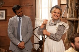 "PARKS AND RECREATION -- ""Article Two"" Episode 519 -- Pictured: (l-r) Aziz Ansari as Tom Haverford, Amy Poehler as Leslie Knope -- (Photo by: Colleen Hayes/NBC)"