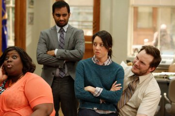 "PARKS AND RECREATION -- ""Jerry's Scrapbook"" Episode 521 -- Pictured: (l-r) Retta as Donna Meagle, Aziz Ansari as Tom Haverford, Aubrey Plaza as April Ludgate, Chris Pratt as Andy -- (Photo by: Tyler Golden/NBC)"